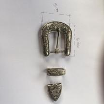 hebilla, trabilla y punta de plata para cinturón
