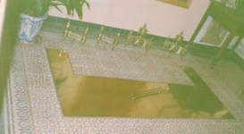 morillos y alfombra de bronce chimenea