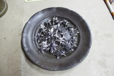 plato de bronce con azahares de plata